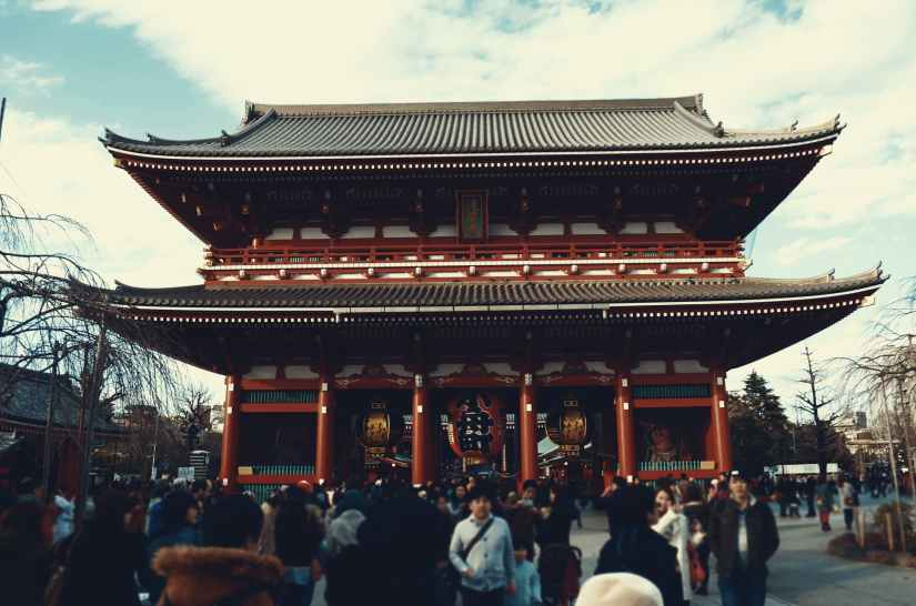 photo of people in temple japan