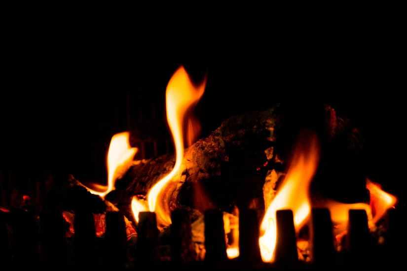 romantic fire burning fireplace