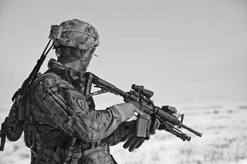 army black and white gun military