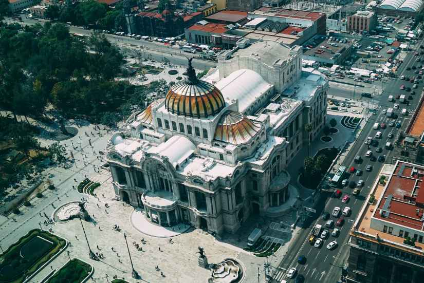 bird s eye view photography of dome building