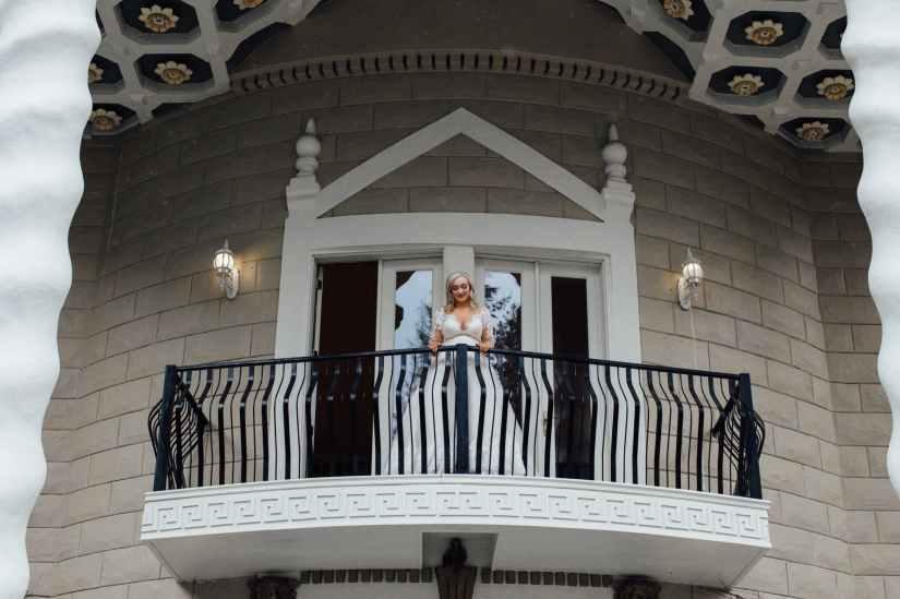 woman standing on terrace