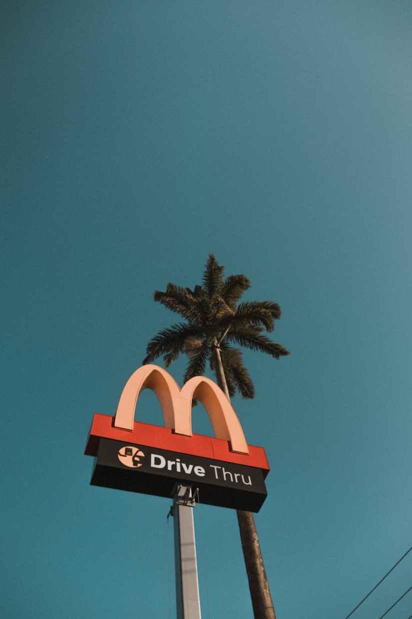 mcdonald drive thru road signage