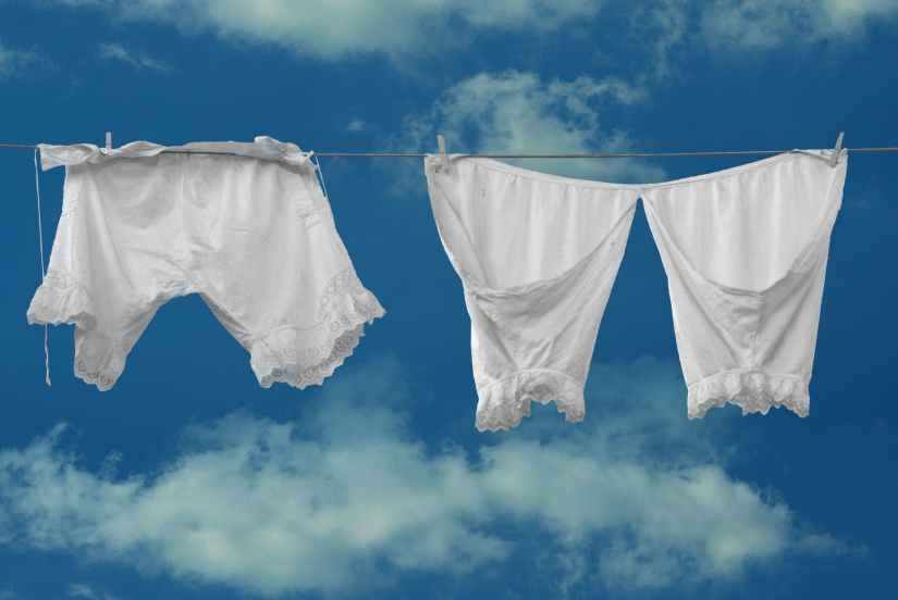 white clothes line trousers past