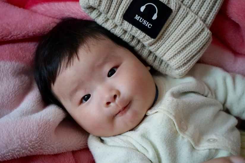adorable asian baby bonnet
